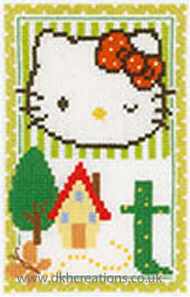 Hello Kitty Alphabet Letter T Cross Stitch Kit